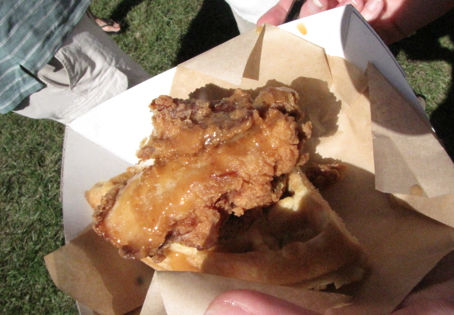 Cornmeal and maple bacon waffle and crispy fried chicken slider from Mosaic.