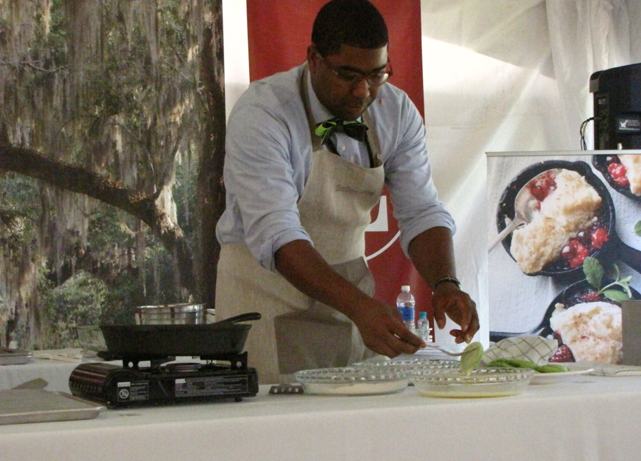 Norman frying up some green tomatoes
