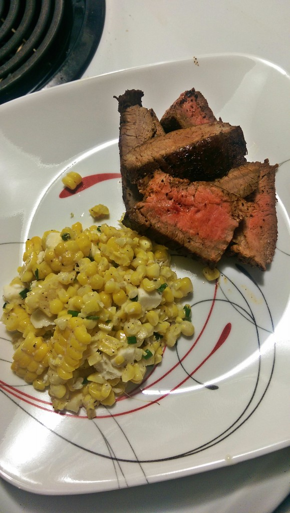 The finished product. Not pictured: the half a bottle of wine I drank to destress from cooking that steak.