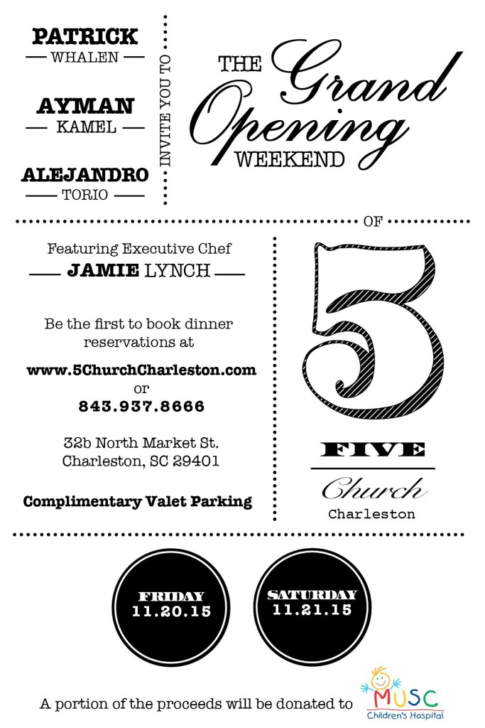 Charleston Grand Opening Weekend Fri Nov 20 2015