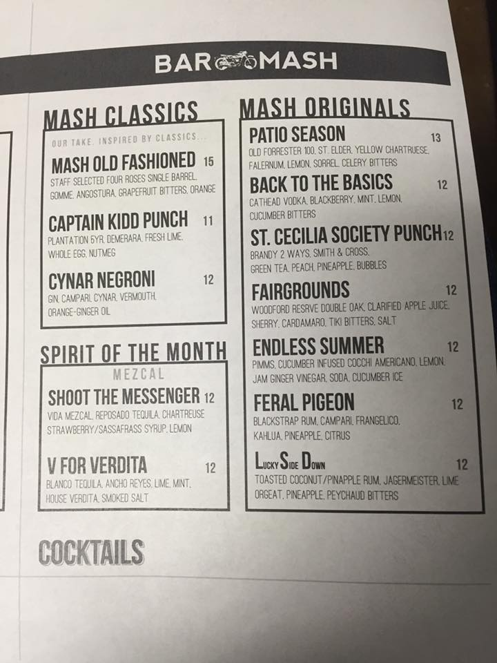 Bar Mash Cocktail Menu 4.12.16